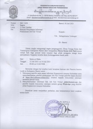 Bursa Kerja (Job Fair)  Dinas Tenaga Kerja Dan Transmigrasi Kabupaten Bantul Secara Virtual
