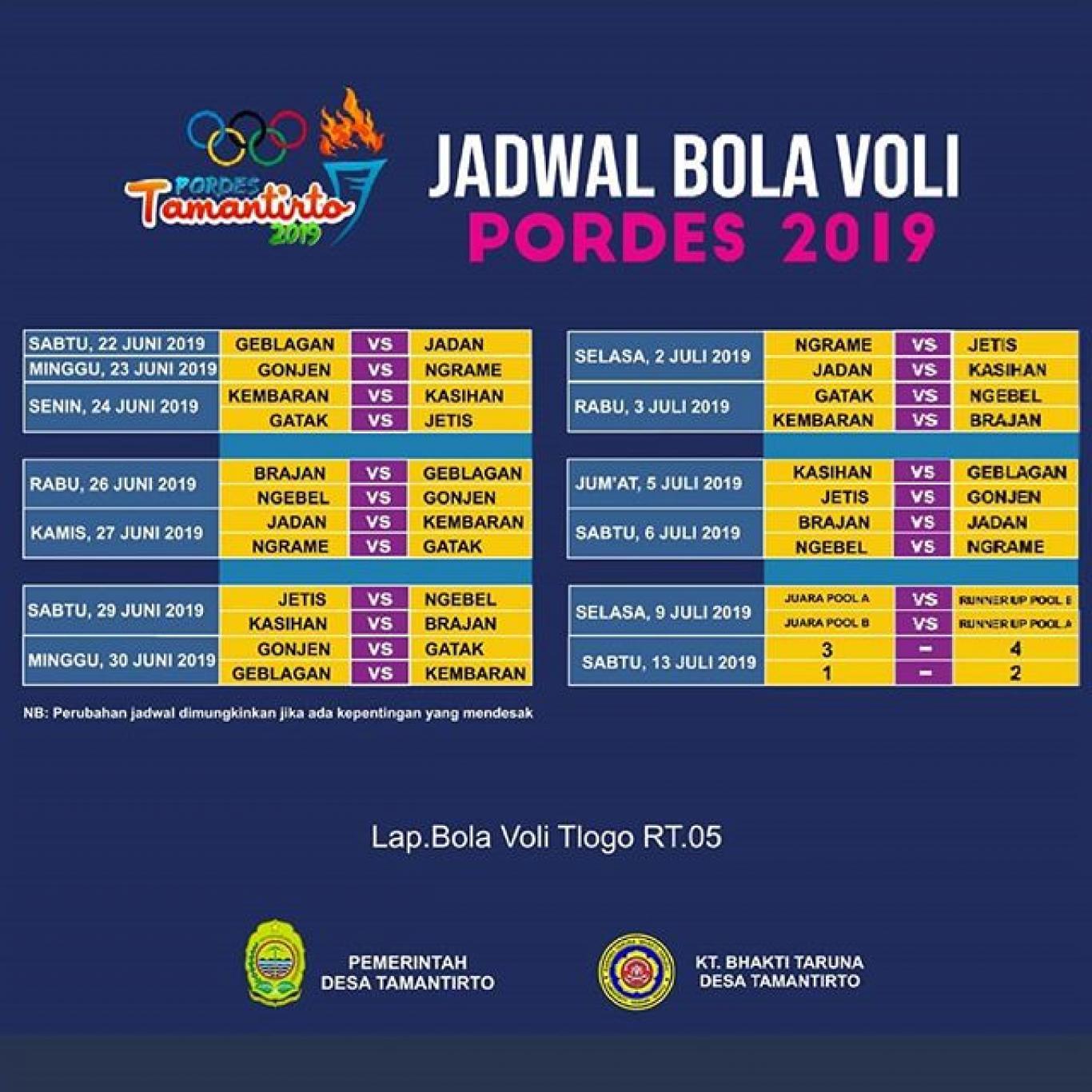 Berikut Jadwal Pertandingan Bola Voli Di Pordes Tamantirto
